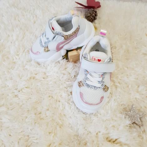 Adidasi Glitter albi
