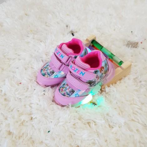 Adidasi Frozen roz cu luminite
