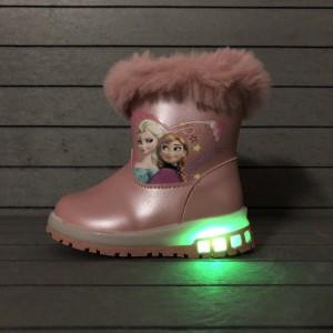 Cizme Elsa imblanite cu luminite roz deschis