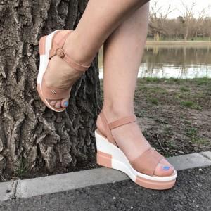Sandale Nina bej cu platforma